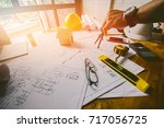 concept architects  equipment... | Shutterstock . vector #717056725