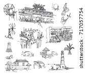 vector sketches of the island... | Shutterstock .eps vector #717057754