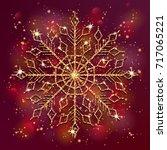 xmas golden snowflake on bright ...   Shutterstock .eps vector #717065221