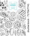 italian food top view  vertical ... | Shutterstock .eps vector #717067741