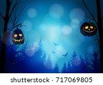halloween greeting card ... | Shutterstock .eps vector #717069805