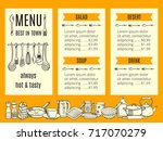 vector restaurant menu template ... | Shutterstock .eps vector #717070279