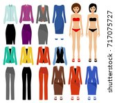 paper doll with a set of... | Shutterstock .eps vector #717075727