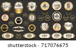 gold and silver luxury badges... | Shutterstock .eps vector #717076675