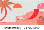 beach summer illustration | Shutterstock . vector #717076849