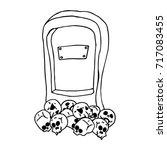 tombstone on skulls. tombstone... | Shutterstock .eps vector #717083455