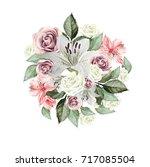 beautiful watercolor bouquet of ... | Shutterstock . vector #717085504