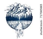 mountain vintage emblem. fir... | Shutterstock .eps vector #717085885