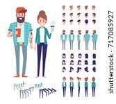 hipster couple. front  side ... | Shutterstock .eps vector #717085927
