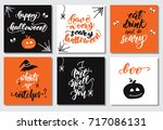 set of square cards for... | Shutterstock .eps vector #717086131