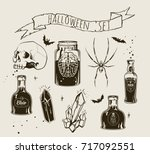 set of halloween objects and... | Shutterstock .eps vector #717092551
