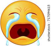 weeping emoji or emoticon... | Shutterstock .eps vector #717094615