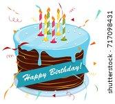cute cartoon happy birthday...   Shutterstock .eps vector #717098431