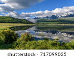 a picturesque landscape with... | Shutterstock . vector #717099025