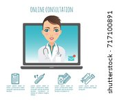 vector infographic. online... | Shutterstock .eps vector #717100891