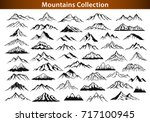 Stock vector different mountain ranges silhouette collection set 717100945