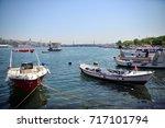 boats in the golden horn bay in ...   Shutterstock . vector #717101794