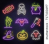 big set icon neon sign. happy... | Shutterstock .eps vector #717102697