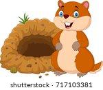 cartoon groundhog in front of...   Shutterstock . vector #717103381