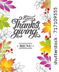 happy thanksgiving beautiful... | Shutterstock .eps vector #717109555