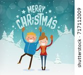 merry christmas characters  ... | Shutterstock .eps vector #717112009