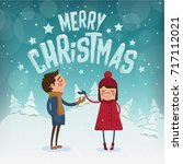 merry christmas characters  ... | Shutterstock .eps vector #717112021