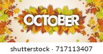 autumn foliage with text... | Shutterstock .eps vector #717113407