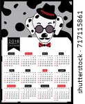 2018 twelve month calendar...   Shutterstock .eps vector #717115861