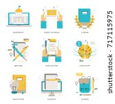 infographic flat line icons... | Shutterstock .eps vector #717115975