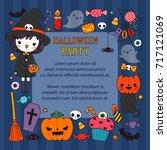 happy halloween day. cute...   Shutterstock .eps vector #717121069