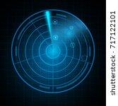realistic digital radar in... | Shutterstock .eps vector #717122101