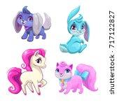 cute cartoon animals icons set. ... | Shutterstock .eps vector #717122827