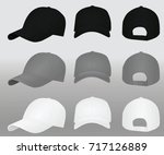 baseball cap set. black grey... | Shutterstock .eps vector #717126889