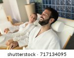 couple enjoying wellness spa... | Shutterstock . vector #717134095