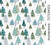christmas fir forest on the... | Shutterstock .eps vector #717134521