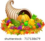 horn of plenty cornucopia with... | Shutterstock . vector #717138679