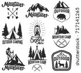 set of mountain camp emblems.... | Shutterstock .eps vector #717141265