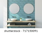 white and blue bathroom... | Shutterstock . vector #717150091