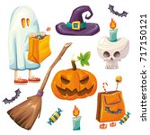 cute color cartoon style vector ... | Shutterstock .eps vector #717150121