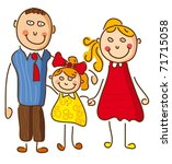 illustration with a happy family | Shutterstock .eps vector #71715058