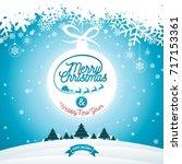 merry christmas illustration... | Shutterstock .eps vector #717153361