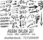 set of arrow brush doodle... | Shutterstock .eps vector #717154459