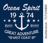 ocean spirit vintage t shirt...   Shutterstock .eps vector #717154885