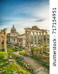 forum roman rome historic... | Shutterstock . vector #717154951