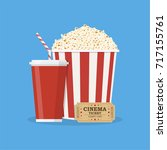 popcorn striped bucket with cup ... | Shutterstock . vector #717155761