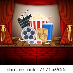 movie theater with row of red... | Shutterstock . vector #717156955