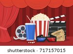 retro movie set. black... | Shutterstock . vector #717157015