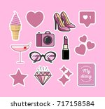 sticker pack in pink style | Shutterstock .eps vector #717158584