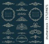 vintage border and rosette for... | Shutterstock . vector #717159871