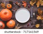 autumn or thanksgiving day... | Shutterstock . vector #717161569